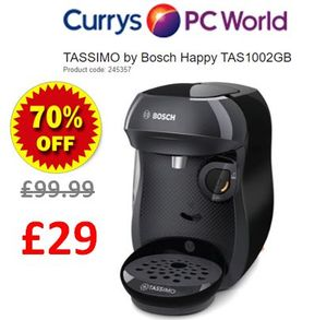 TASSIMO by Bosch Happy Coffee Machine (Black) Was £99.99 Now £29 Delivered.