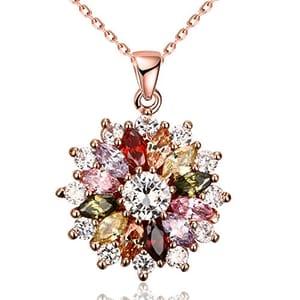 Zirconia Flower Shape Rose Gold Plated Pendant Necklace for Women Girls