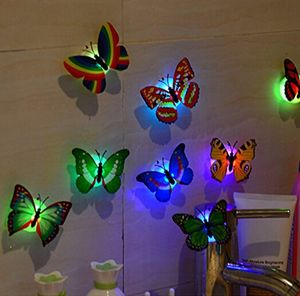 10 Pieces Kids Butterfly Flashing Colorful Adhesive Glowing Lights