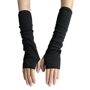 Fashion Women's Knit Wrist Arm Fingerless Hand Long Mitten Gloves