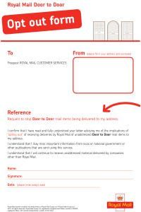 Royal Mail Door-to-Door Junk Mail Opt-Out, Free