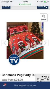 Christmas Pug Party Duvet out of stock now