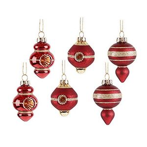 FREE Valery Madelyn 6Pcs Luxury Red and Gold Christmas Glass Baubles