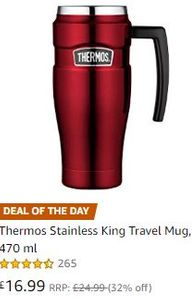 Thermos Stainless King Travel Mug, Red, 470 Ml