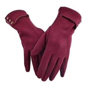 Velvet Womans Gloves Black Red Gray and Khaki