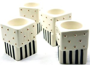 Yankee Candle Jackson Frost Stripes & Polka Dot Cube Tea Light Holders