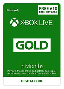 Xbox Live 3 Month Gold Membership + £10 FREE Credit