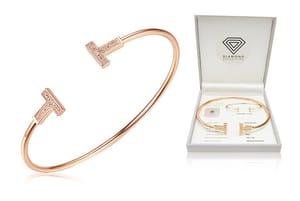 Rose Gold Diamond Bangle - Only £29!