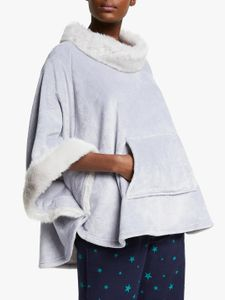 REDUCED to CLEAR at John Lewis - Faux Fur Fleece Poncho, Grey