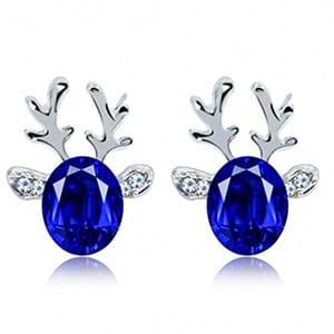 Crystal Gemstone Earrings Three-Dimensional Christmas Reindeer Antlers Earrings