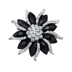 Women's Blossom Flower Brooch Black Crystal Rhinstones Pin