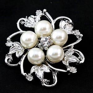 Silver Tone Faux Pearl Broach Rhinestone Crystal Flower Leaf Brooch
