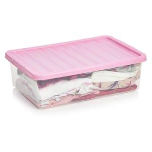 Wilko Underbed Box Pink 32L