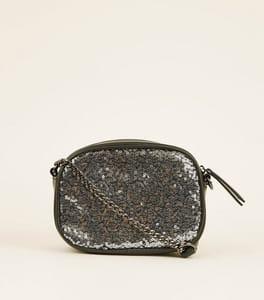 Pewter Sequin Camera Bag