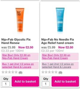 Nip + Fab Hand Creams Only £2:50
