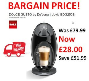 DOLCE GUSTO by De'Longhi Jovia EDG250B Hot Drinks Machine - Black