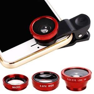 3 in 1 Phone Camera Fisheye Wide Angle Macro Lens Clip on Smartphone