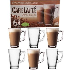 Coffee Latte Cappuccino 240ml Glasses (6 Pack)