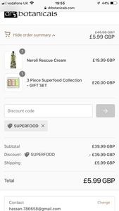 GLITCH!? £45 Gift Set for £5.99 (Pay Only Del @Dr Botanicals with Code SUPERFOOD