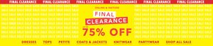 Miss Selfridge Final Clearance up to 75% Off