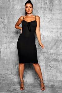 Boohoo Womens Skinny Strap Tie Front Midi Dress