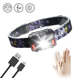 LED Head Torch Headlamp USB Rechargeable Headlight PIR Body Motion Sensor