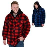 Men's Alaska Check Fleece Lumberjack Jacket Coat (Red/Blue)