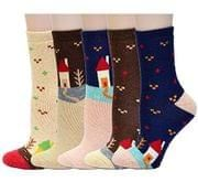 Womens Bed Socks Thick Casual Novelty Thermal Wool Socks 5 Pack