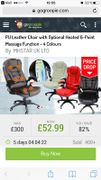 PU Leather Chair with Optional Heated 6-Point Massage Function - 4 Colours