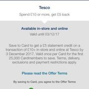 Amex offer £5 credit on £10 tesco spend (selected accounts)