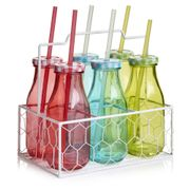 Bargain Wilko Coloured Milk 6 Bottle Set & Crate Free C&C