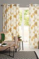 Bold Floral Print Eyelet Curtains 135x136cm