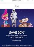 Debenhams 20% Off Toys When You Spend £25