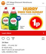 Fairy Liquid Only 1p. Ends Sunday!