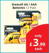 Duracell Batteries AA/AAA Pack of 12- £3.99 Each Instore