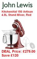 JOHN LEWIS DEAL save £120. KitchenAid 150 Artisan 4.8L Stand Mixer, Red