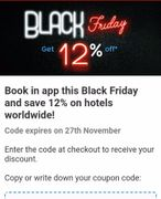 12% off Hotel Bookings Worldwide until Mon 27 Nov. 12.59pm
