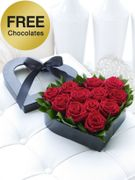 Interflora Free Box of Chocolates with Red Rose Heart Box
