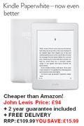 All-New Amazon Kindle Paperwhite eReader - CHEAPEST PRICE at JOHN LEWIS