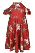 LIMITED COLLECTION Red Floral Print Cold Shoulder Dress with High Neck Frill