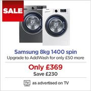 SAMSUNG Ecobubble 8kg 1400 Spin Washing Machine Now £369. Was £600!