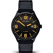 SEKONDA Gents Watch with Date - Black Nylon Strap - Water Resistant - Mans