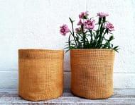 ROUND BURLAP SACK Jute Hessian Organiser Home Decoration Indoor Outdoor Garden