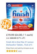 SAVE £40! Finish All-in-One Max Lemon Dishwasher Tablets, Pack of 155