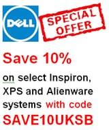DEAL! 10% off Dell Laptops and Desktop PCs (Inspiron, XPS, Alienware Ranges)