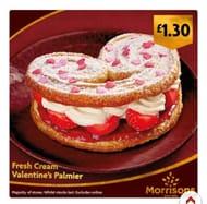 Heart Shaped Fresh Cream & Strawberry Palmier
