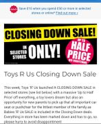 Closing down Sale at Selected Toys R Us Stores