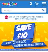 Save £10 When You Spend £50 at Toys R Us. Selected Stores Instore and Online