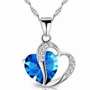 **FREE** Cubic Zirconia Blue Heart Necklace - Just Pay £4.99 P&P