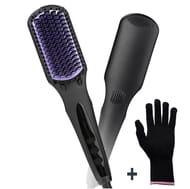 Hair Straightening Brush + Heat Resistant Glove